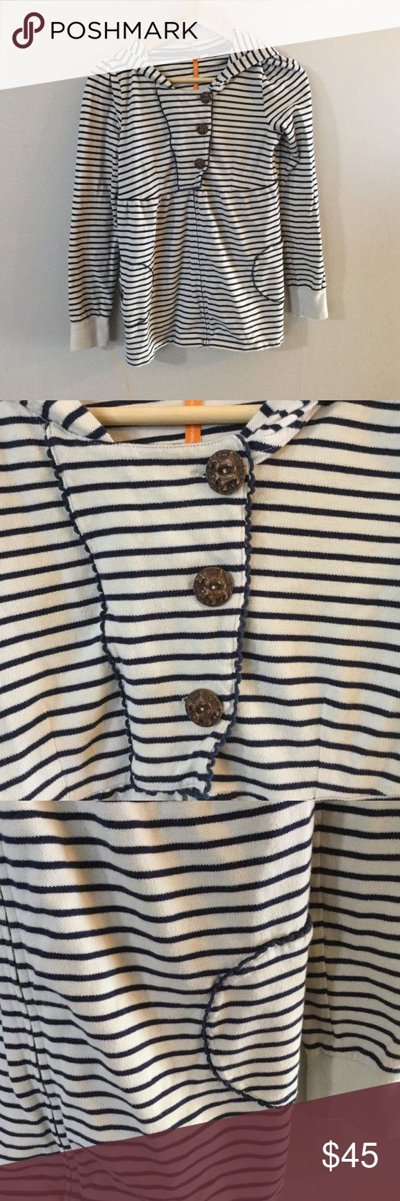 Anthropologie Saturday Sunday Striped Hoodie S On sale is an Anthropologie Saturday/Sunday striped zip up hoodie. It has dog detailing on the buttons. The hoodie is a women's small and it is in good, used condition.   The measurements are approximations Length (Shoulder to hem)- about 25 3/4 inches  Width (Pit to pit)- about 15 inches Anthropologie Sweaters