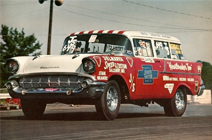 57 Chevy Wagon Heart Breaker Too Drag Racing
