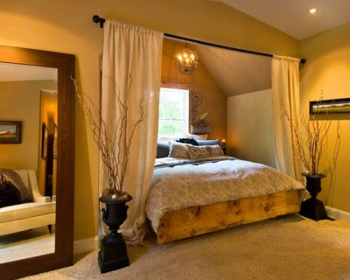 Romantic Bedroom Ideas - Love the wooden footboard and how the bed is tucked away