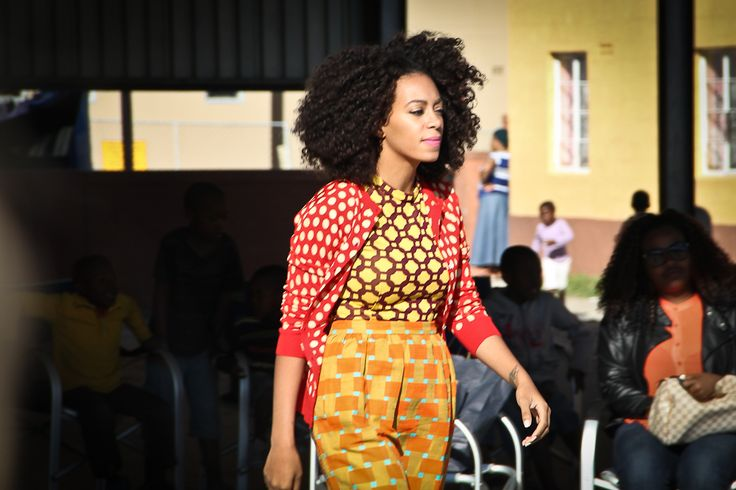 "Solange Knowles looked incredible wearing prints yesterday in Langa township, Cape Town. She was shooting her music video a new song called ""Losing You""off her new album"