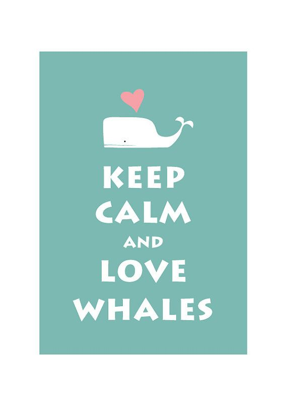 Large 13X19 Keep Calm and Love Whale - Light Teal -  Personalized custom Wedding Birthday Anniversary Gift Children Kids Home Decor