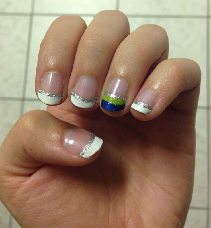 Seahawks themed french manicure nails!