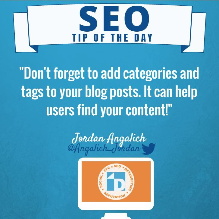 #SEO Tip of the Day from Jordan. Add categories and tags when writing a blog!