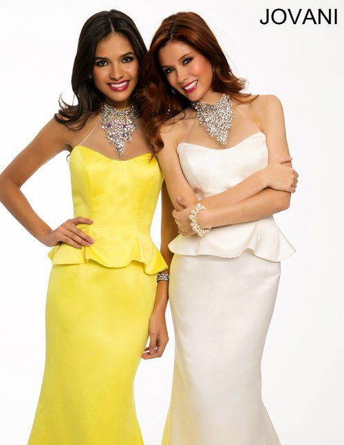 Gorgeous long yellow & white peplum prom dresses 2015 by Jovani, featuring sweetheart neckline and jeweled halter top. No need for a necklace with this beautiful dress!