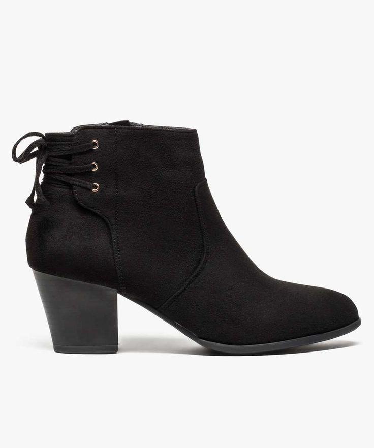 Boots velours avec lacets à l'arrière du talon | GÉMO