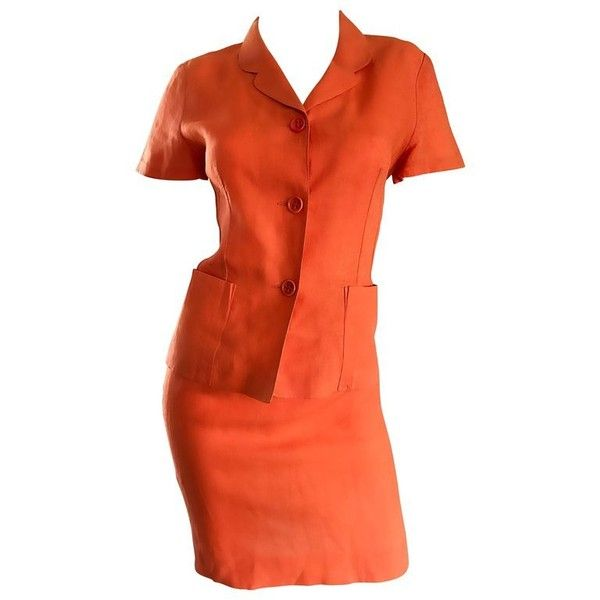 Preowned 1990s Kenzo Bright Orange Linen Vintage Short Sleeve Two... ($875) ❤ liked on Polyvore featuring orange, skirt suits, vintage two piece, high waisted two piece and kenzo