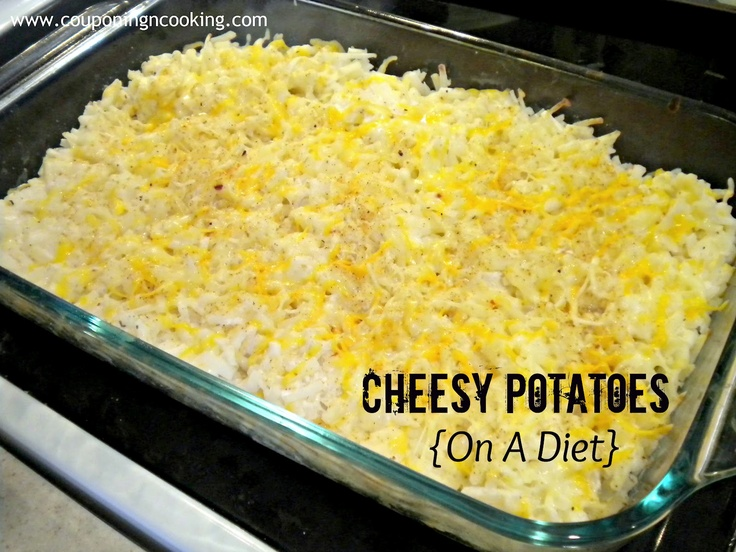Cheesy Potatoes {On A Diet} - frozen hasbrowns, 2 cups greek yogurt, milk, cheese, seasonings