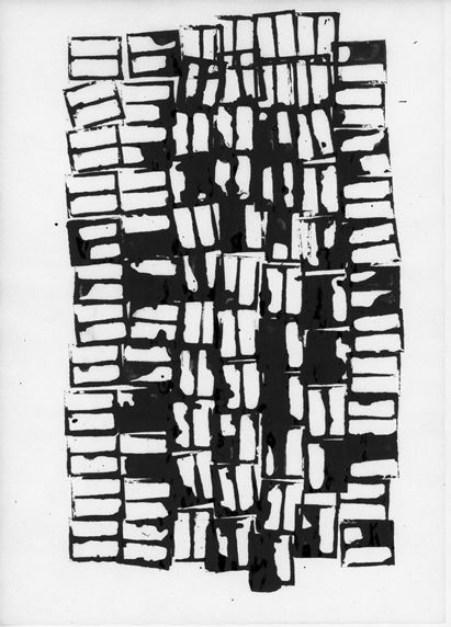 Monochrome surface pattern design - hand-printed repeating block pattern using ink // Amelie Petit Moreau