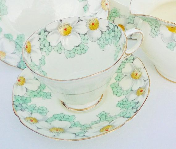 Antique Teacup Trio by Paragon, Rare April Pattern, Green Yellow White Flowers, Cups, Saucers, Tea Plate, Vintage Bone China Tea Set c1930's on Etsy, $60.54