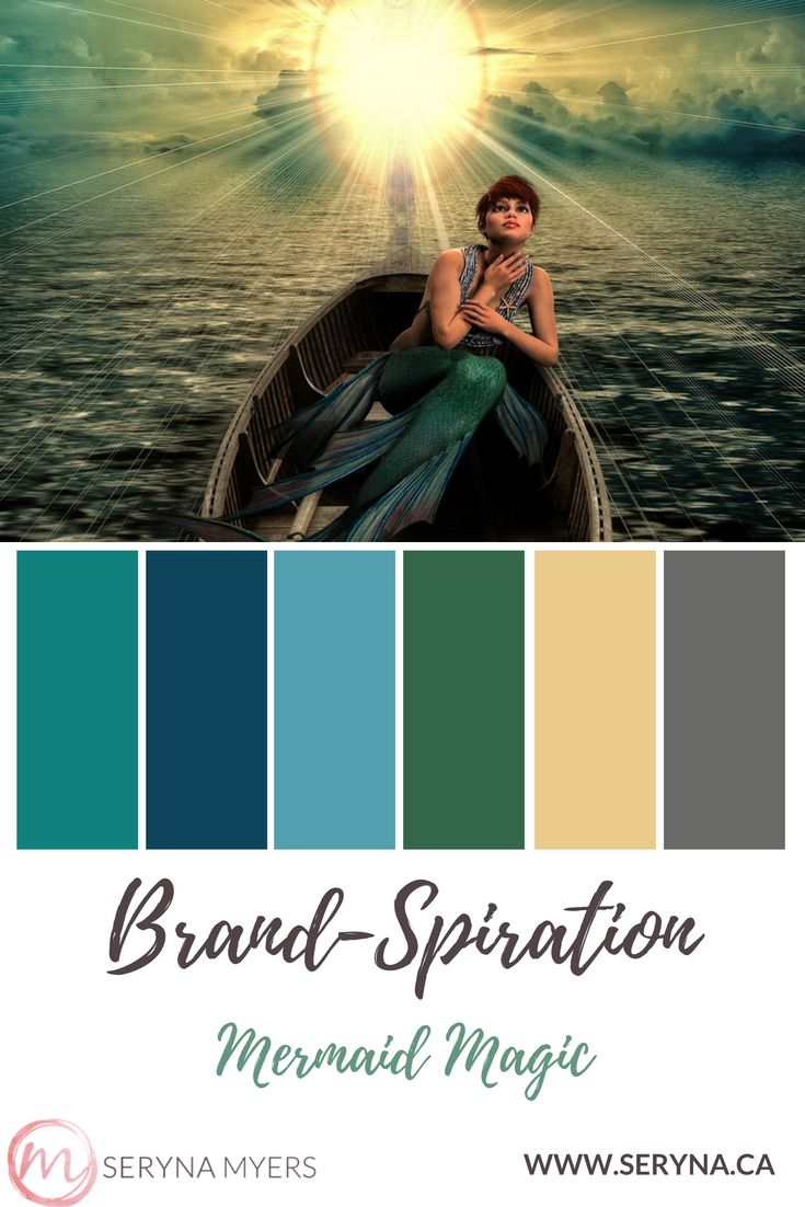 Mermaid inspired brand with ocean colours of blue, green and teal.