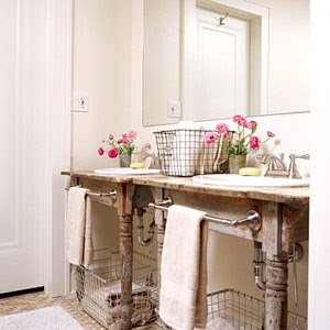 decorology: Cute ideas for small bathroom storage: Bathroom Design, Farms Table, Small Bathroom, Bathroom Vanities, Old Tables, Towels Bar, Bathroom Sinks, Wire Baskets, Powder Rooms