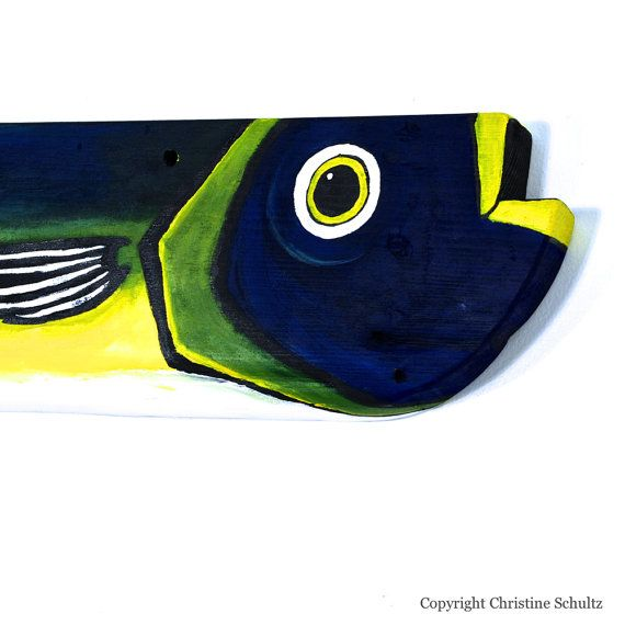 Fish Art Wall Hanging Painted on Reclaimed Wood by by TaylorArts, $75.00