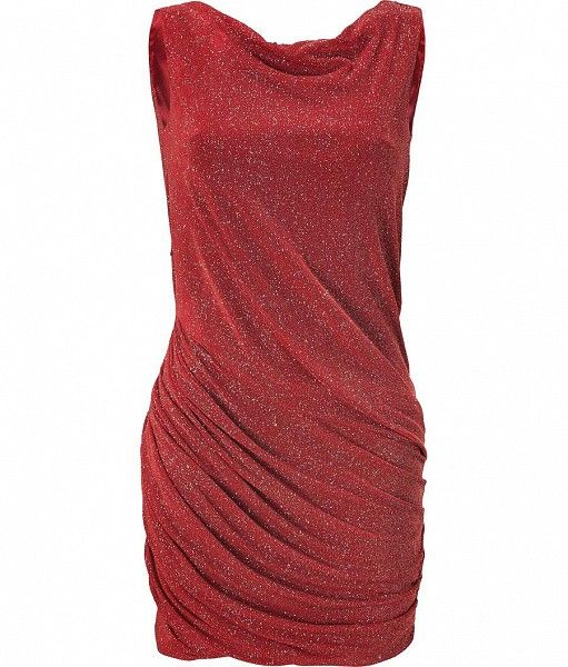 Red Draped Lurex Dress by JAY AHR