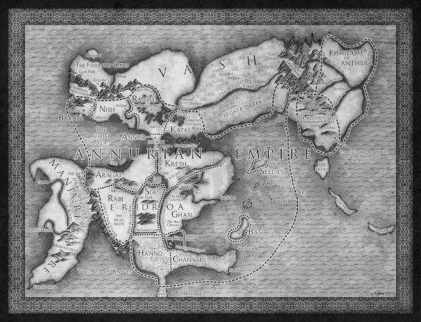 Isaac Stewart Brian Staveley Emperor's Blades map, from HOW TO MAKE A FANTASY WORLD MAP