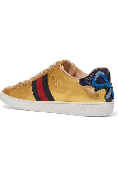 Gucci - Ace Watersnake-trimmed Appliquéd Metallic Leather Sneakers - Gold - IT40.5
