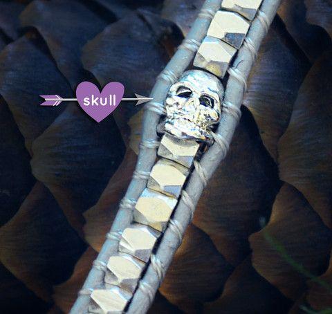 Double Wrap – Emma Jaxon Jewelry - Wrap Bracelets. On Sale for $19. Leather with a metal skull. #Skull #Punk #Bracelet #Jewelry #Gothic #Goth #Bracelet