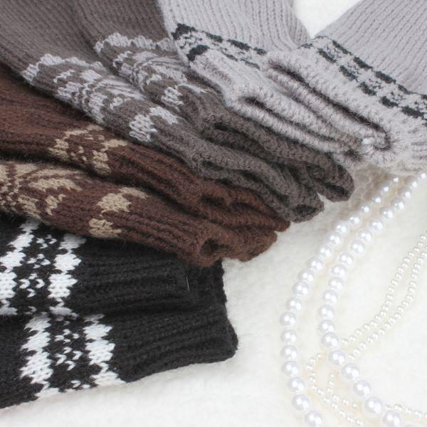 Snowflake Wrist Long Knit Fingerless Gloves