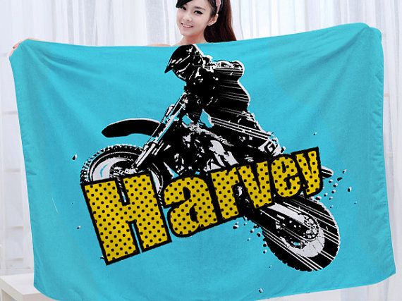 Motocross Blanket Personalized Throw Blanket Kids Baby by Slive88