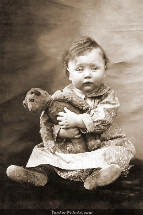 Antique Teddy Bear..IDK who's sweeter though, that baby is so sweet and looks sooo tired.