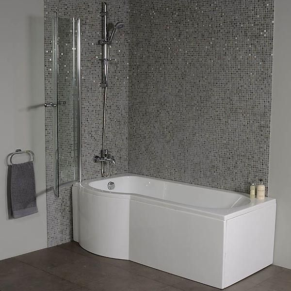 The Dee left hand P shape shower bath is an exceptional shower/bathing solution for any modern bathroom. Complete with a curved shower screen and acrylic front panel.