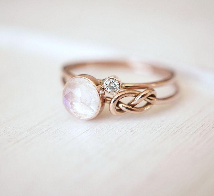 Moonstone Ring Diamond Ring Moissanite Ring Ring Set by Luxuring <<< pretty