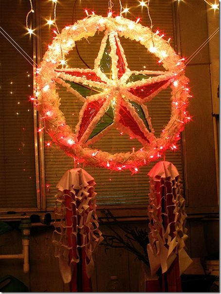 In the Philippines they make great lanterns called Parols!  This was a great Christmas parol handmade by a blogger Fili-Billy, now living in East Tennesee!  How fun!  Think I'm inspired to make some fun holiday lanterns myself:)  Check out his blog at http://blogs.knoxnews.com/pineda/2009/12/parol-a-christmas-lantern.html
