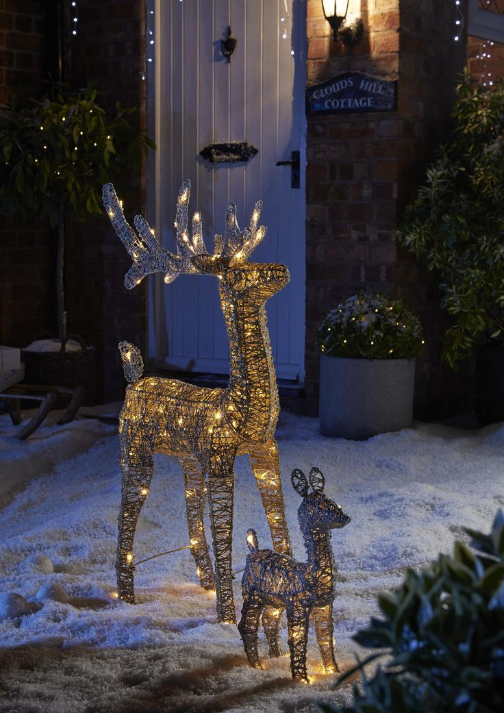 Best 25 outdoor christmas reindeer lights ideas on pinterest this gorgeous pair are a sparkly treat this christmas with their elegant led warm white lights to brighten up your home or garden mozeypictures Images
