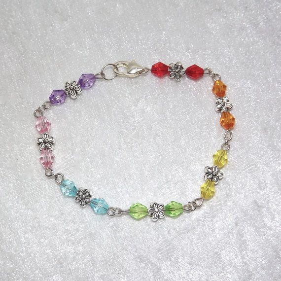 Beaded Bracelet  Flowers Sparkly Rainbow  FREE UK by KasumiCrafts