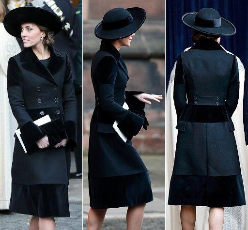 Catherine wearing Alexander McQueen coat at memorial for Duke of Westminster on November 28, 2016. She has worn this coat twice before, 2011 and 2012 Remembrance Day.