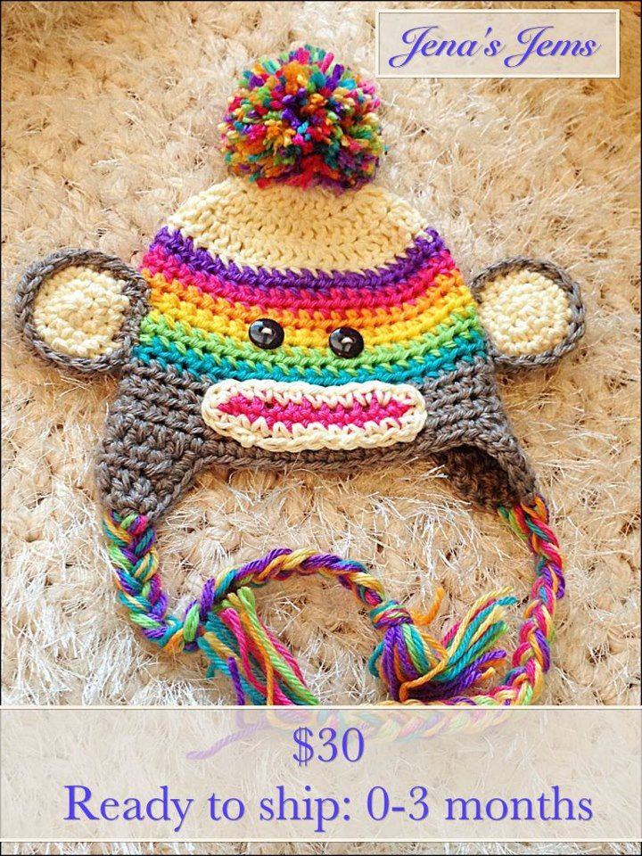 167 best crochet hats images on pinterest hat crochet crocheted bright rainbow sock monkey hat dt1010fo
