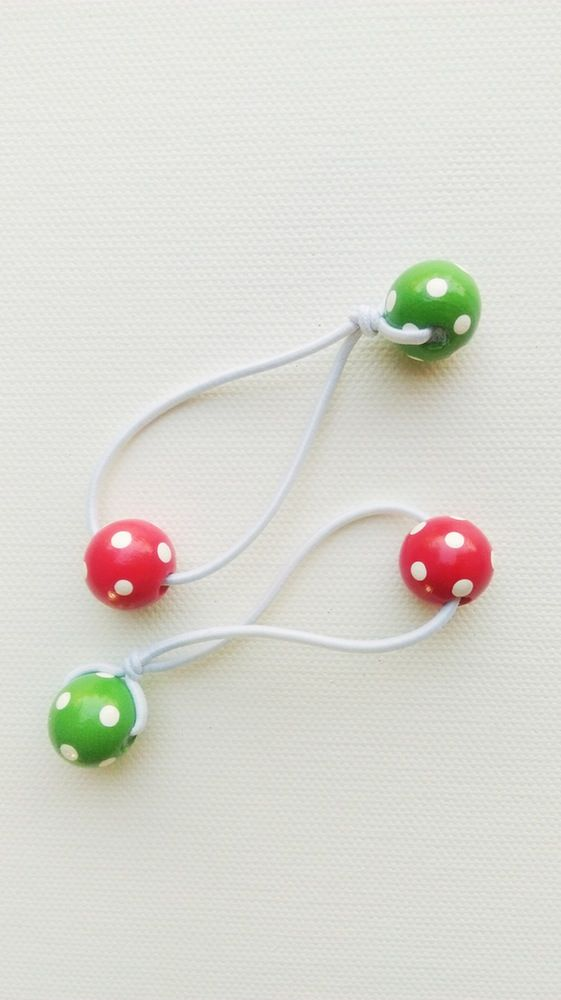 CHRISTMAS hair bobbles. Hair accessories for girls. Handmade and handpainted. Polka dots.