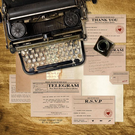 vintage telegram printable wedding stationery set invitation suite 1920s 1930s 1940s invitation, reception or ceremony package