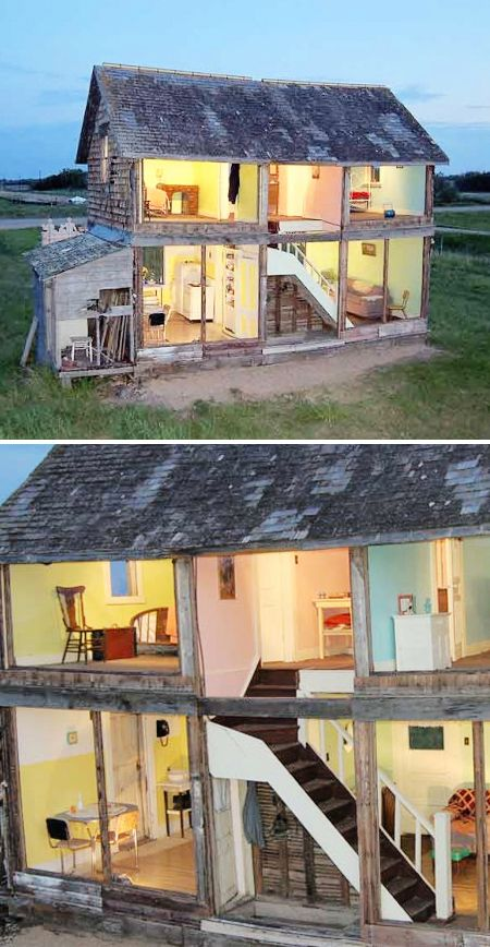 abandoned farm house, turned life-sized dollhouse, on the Canadian Prairies, work of artist Heather Benning