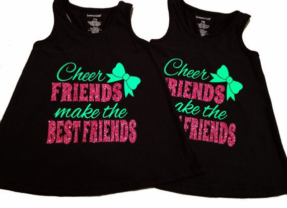 """Custom Glitter and Neon """"Cheer Friends Make the Best Friends"""" Flowy Racerback Tank - Youth Sizes Available"""