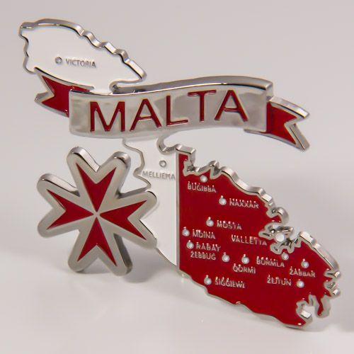 Metal Fridge Magnet: Malta. Map of Malta (Chrome Plating and Enamel)