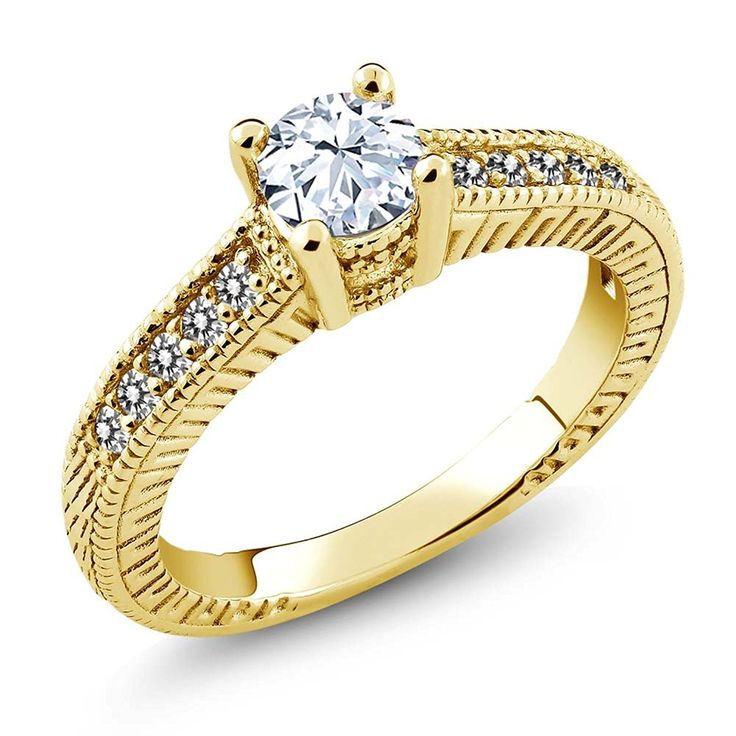 0.77 Ct Round White Topaz Diamond 925 Yellow Gold Plated Silver Engagement Ring * Hurry! Check out this great product : Engagement Rings