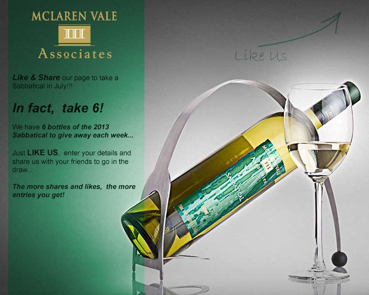 LIKE our Facebook page, share it with your Facebook friends and you could with six bottles of the new Sabbatical Sav Blanc each week in July!  https://www.facebook.com/IIIAssociates