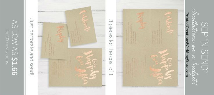 Affordable and stylish are Sep 'n Send Wedding Invitations in their many different designs.  Click now to learn more.  www.PrintedCreationsWeddingStore.com  #sepnsend    #affordableweddinginvitations