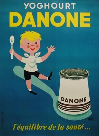¤ Yoghourt Danone par Hervé Morvan (1917-1980) affichiste et décorateur français. // french vintage ad for Danone.. one of the biggest french group now. French people now mostly say yaourt in place of yoghourt.