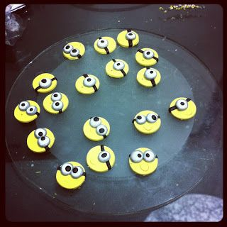 Miny Minion earrings - would be cute mini cupcake toppers!