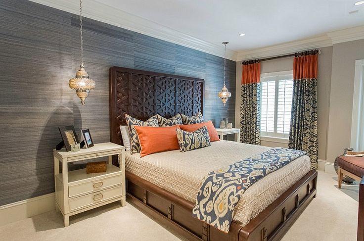 Lindo mistura de elementos marroquinos com design elegante e contemporâneo quarto
