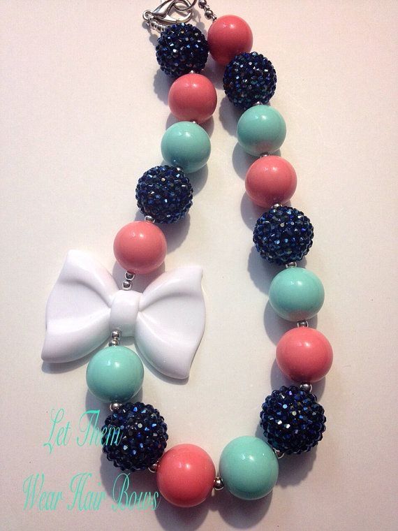 Navy, Pink Coral, Mint Green Turquoise Chunky Bead Necklace with White Bow for Little Girls, Kids Jewelry, Toddler Gifts Under 15, Trendy on Etsy, $13.49