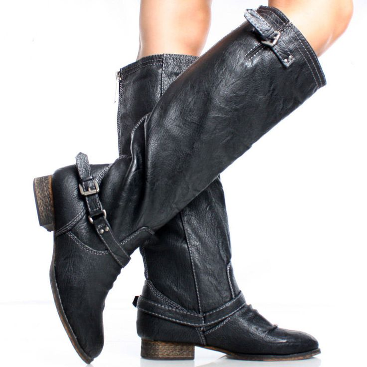 black distressed faux leather western womens flat knee