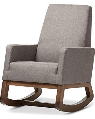 Baxton Studio Yashiya Mid Century Retro Modern Fabric Upholstered Rocking  Chair, Grey Part 71