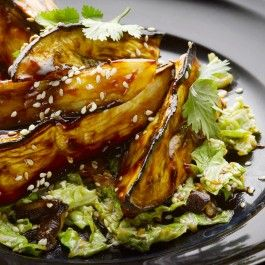 Aubergine with miso and chinese cabbage