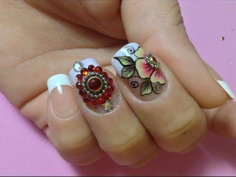 Unhas decoradas flor de carga dupla e pedraria - YouTube