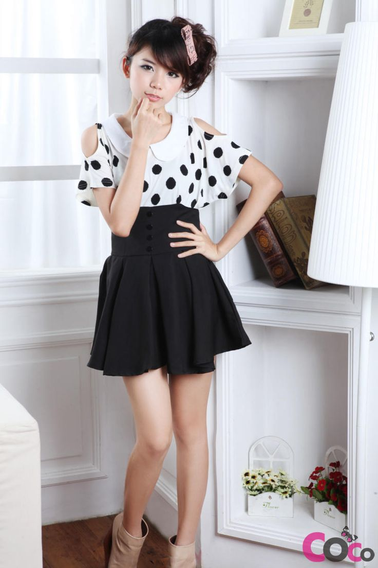 Black High Weist Globed Cute Korean Fashion Summer Skirt ...