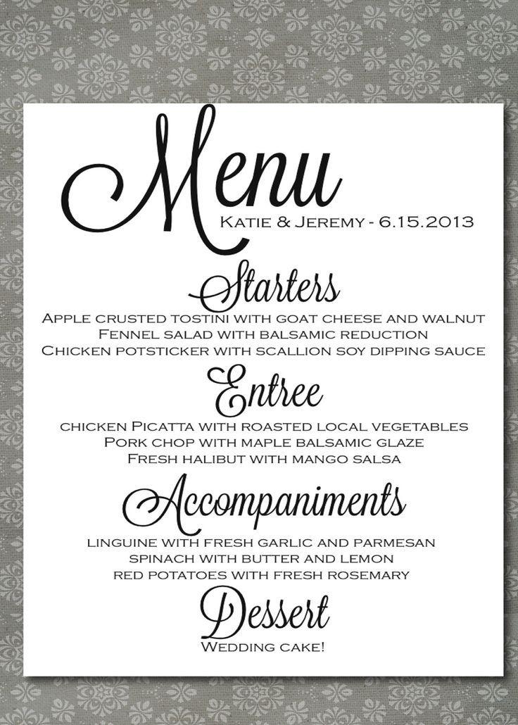 wedding menu board printable printable wedding menu script elegance diy print at