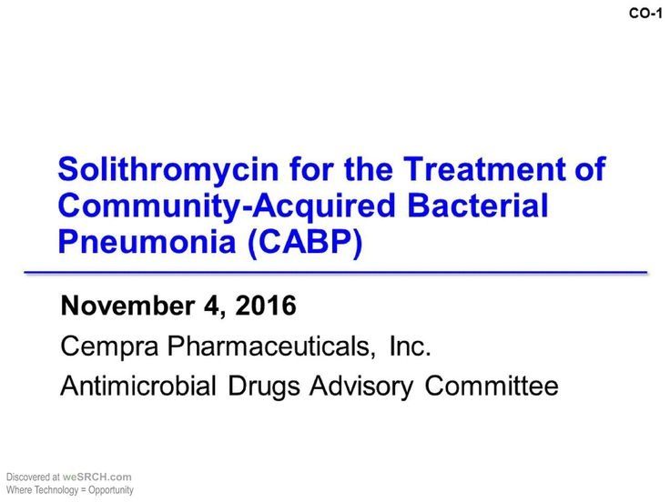 #Solithromycin for The Treatment of Community-Acquired #BacterialPneumonia (CABP)