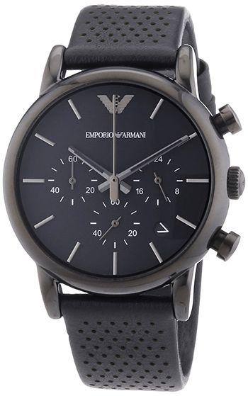 Montre Armani Cuir Noir - Cadran en Acier inoxydable Noir - Quartz Chronographe